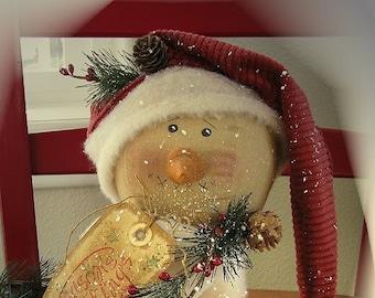 Primitive Snowman Pattern Season's Greetings Snowman Make Do Christmas Pattern