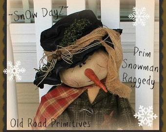 Primitive Snowman Pattern SnOw DayZ Prim Snowman Raggedy Christmas PDF Cloth Doll Sewing Pattern