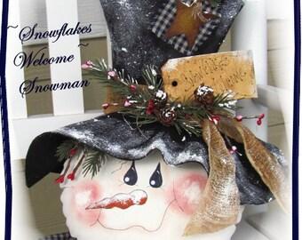 Primitive Snowman Pattern Snowflakes Welcome Snowman Christmas Pattern