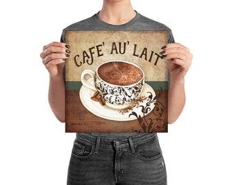 Cafe Au Lait Coffee Watercolor Art Poster