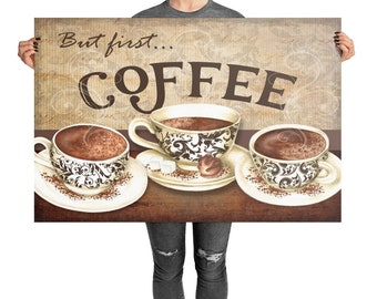 Coffee Watercolor Art  paper poster print