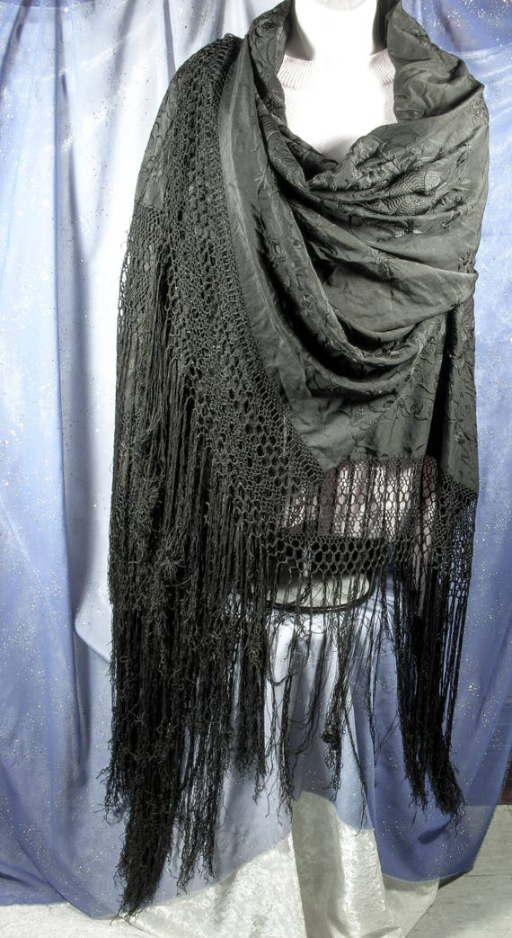 Handknotted Border+Fringe Antique Spanish Black Silk Crepe de Chine PianoMalacca Shawl with Pale Gold Hand Embroidered Flowers
