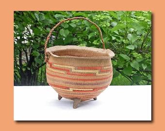 Museum Quality Antique Tlingit Spruceroot Footed Basket  c. 1900
