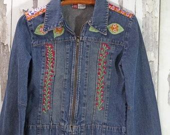 Upcycled Denim Jacket - Embroidered Upcycled Jean Jacket -  Boho Chic - Wearable Art -  Upcycled Clothing - Junk Gypsy