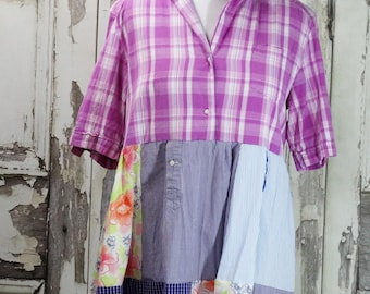 Women's Dress Upcycled Clothing Shabby Chic Boho Chic Eco Fashion Junk Gypsy