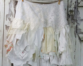 Fairy Lace Skirt,Shabby Chic,Upcycled Clothing,Junk Gypsy,Wearable Art