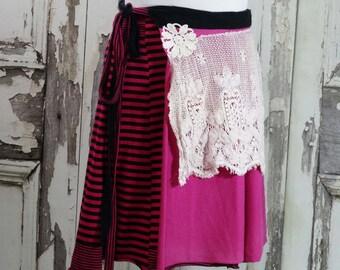 Plus Size Pink and Black Upcycled Clothing Tshirt Wrap Skirt Boho Chic Junk Gypsy Wearable Art Clothing