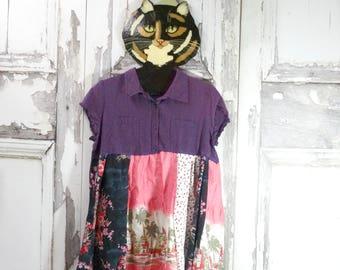 Upcycled Clothing, Wearable Art Dress, Boho Chic, Upcycled Dress, Funky Clothing