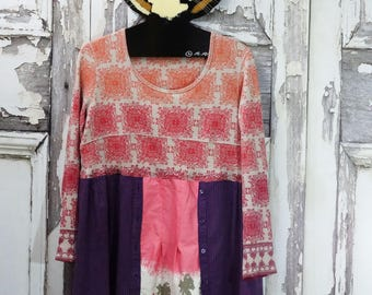 Woman's Xlarge, Upcycled Clothing, Thermal Long Sleeved, Funky Style Dress, Wearable Art Dress
