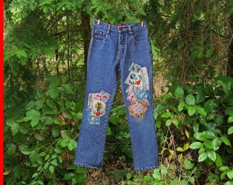 Children's patchwork jeans - upcycled jeans - children's clothing - child jeans - denim jeans - upcycled children's clothing