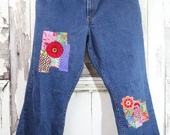 Upcycled Jeans -  Boro Hand Patched -  Upcycled Clothing -   Bohemian Clothing - Women's Jeans - Wearable Art Clothing
