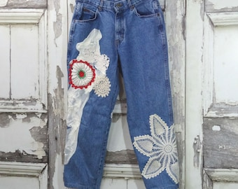 Upcycled Jeans - Chic Upcycled Jeans - Vintage Jeans - Mom Jeans - Boho Jeans