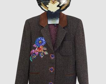 Upcycled Tweed Jacket -  Patched Tweed Jacket - Woman's Tweed Jacket - Upcycled Clothing - Grunge - Boho