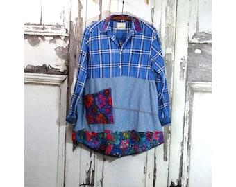 Large Denim and Batik Dress, Upcycled Clothing, Boho Chic,  Junk Gypsy,  Wearable Art,  Repurposed, Recycled, Upcycled Dress