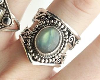 Love Heals Ring, Labradorite Boho Ring, Chevron Ring, Triangle cut Ring, Personalised Statement Ring, Sterling Silver Ring, Boho Rings,