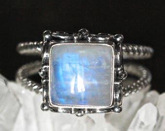 Square Rainbow Moonstone Ring, Boho, Moonstone Ring, Silver Ring, Sterling Silver Ring, Statement Ring, Gypsy Ring, Gypsy Jewelry, Boho Ring