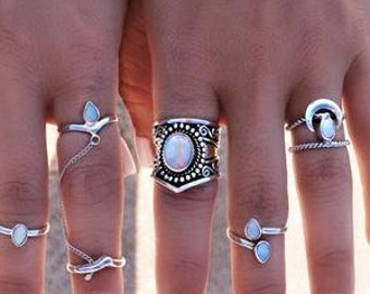 Large White Opal Ring, 925 Sterling Silver Boho Ring