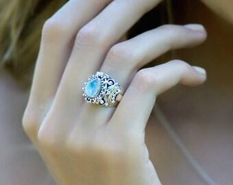 Etruscan moonstone locket Ring, Genuine Rainbow Moonstone locket Ring, Poison Ring, Moonstone Ring, Secret compartment Ring, Boho Rings