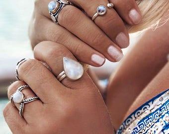 Rainbow Moonstone Ring, Boho Ring, Teardrop Ring, Gypsy Ring, Statement Rings, Solid 925 Sterling Silver Rings, Don Biu