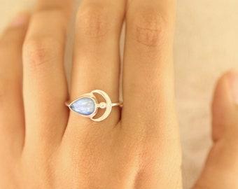 d8490ef9808 Rainbow Moonstone Boho Crescent Moon Teardrop Ring in 925 Sterling Silver a  Slight Dainty Moon Ring with Slim Band Handmade Bohemian Gypsy