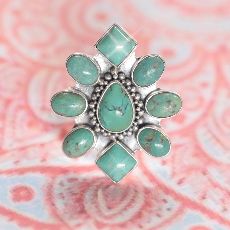 Turquoise Ring Statement Ring Silver Rings Large Rings Etsy