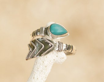 Turquoise Arrow Ring 925 Sterling Silver, Boho Chic Sterling Silver Natural Turquoise, Adjustable Ring, Bohemain Ring