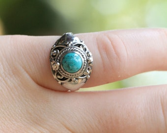 Turquoise Locket Ring, Sterling Silver Ring Locket Ring, Boho Ring, Personalized Ring, Engraving 925 Solid Sterling Silver Handmade Ring