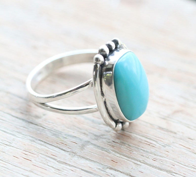 cb570b7d7 Rectangle Turquoise Ring, Boho Jewelry, Stylish Rings for Women, Handmade, 925  Sterling Silver, Stamped, Statement, Blue, Split Shank