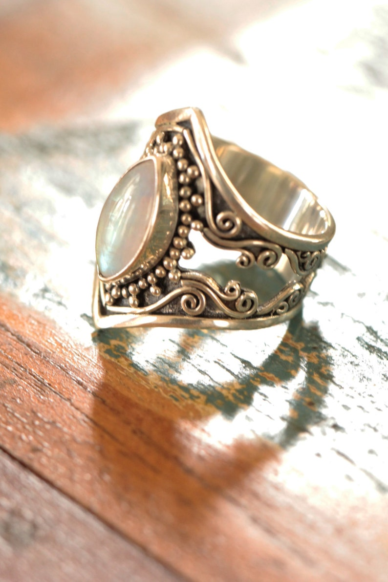 Personalised Filigree Ring Marquise Ring Moonstone Ring Gift For Her Boho Rings High Fashion Ring Large Moonstone Ring Sterling Ring