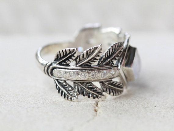 Leaf Ring Moonstone Jewelry Boho Chic Greek Style Wide Etsy