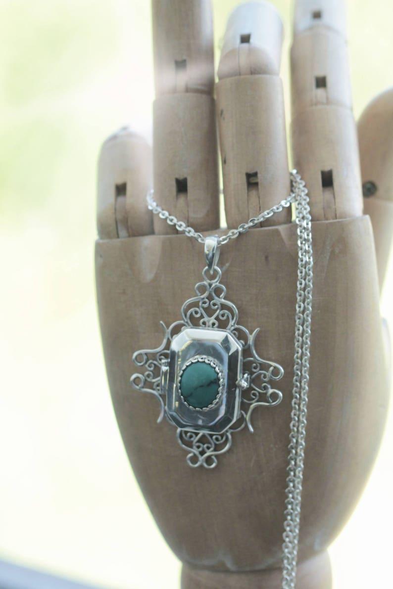 Sterling Silver Large Locket Silver Locket Boho Turquoise Locket Necklace Silver Locket Photo Locket Necklace