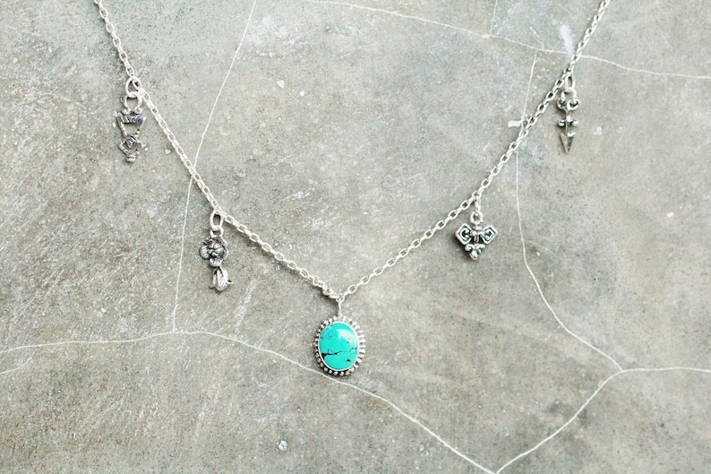 925 Sterling Silver Natural Turquoise Necklace with Boho Style and Charms based on Alchemy and Geometry as well as Flowers