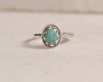 Simple Turquoise Sterling Silver Ring, Star Ring, Gemstone Ring, Customized, Small Ring, Stack, Stackable, Stacking Ring, Womens ring