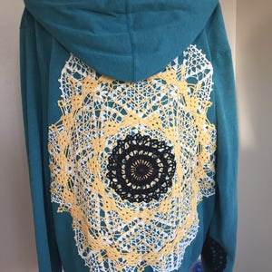 Upcycled restyled clothing GIRLS gold and purple crocheted vintage mandala hoodie