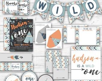 Wild One Tribal Birthday, Boy's First Birthday Tribal Party Boho Birthday, Feathers, Arrows, Tepee Gray Blue Orange, Printable Party Package
