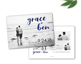 Nautical Save the Date, Watercolor Save Date, Photo Save the Date, Summer Save the Date, Blue Watercolors, Printed or Printable Digital File
