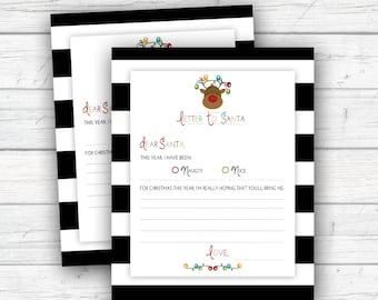 Children's Letter to Santa, Santa Letter, Naughty or Nice List, Christmas Wish List, Reindeer, Printable, Instant Download