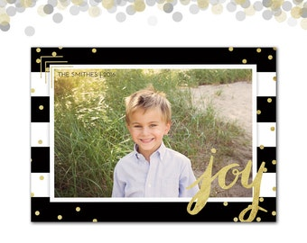 Christmas Card, Gold Confetti, Black and White Stripes, Joy,  Photo Card, Holiday Card, Stripes and Confetti, Printed or Printable