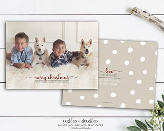 Classic Christmas Card, Merry Christmas Photo Card Holiday Card, Red and Taupe, Dog Holiday Card - Printable Digital File or Printed