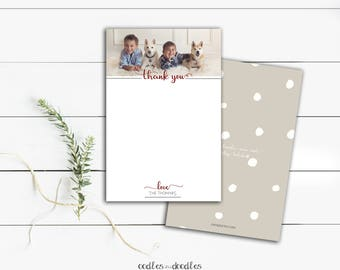 Holiday Thank You Cards, Personalized Family Stationery, Photo Thank You Cards, Confetti Stationery - Printable Digital File or Printed