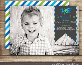 Photo Birthday Invitation 1st 2nd 3rd Boys Blue Green Stripes Printable Or Printed