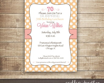 Surprise Birthday Invitation Blush And Peach 30th 40th 50th 60th 70th Polka Dots