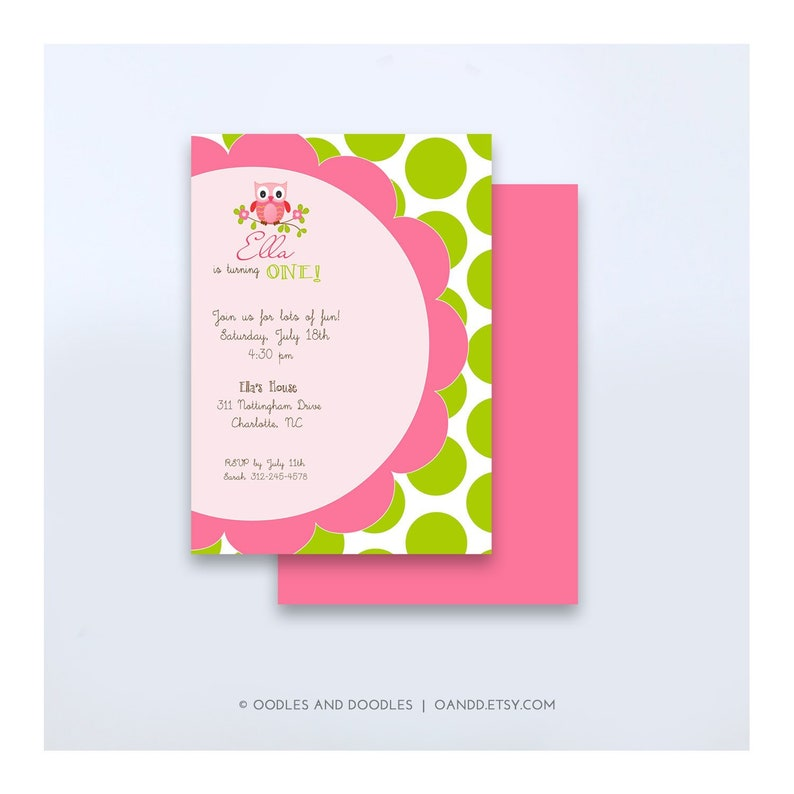 Owl Birthday Invitation Pink And Lime Green Party Polka