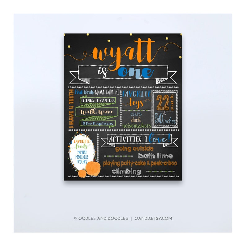 Pumpkin First Birthday Chalkboard Poster Fall Birthday Sign image 0