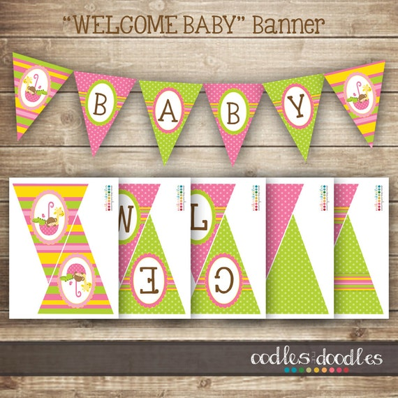 d929c5a4fab7 Baby Girl Pennant Banner  Pink