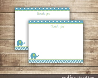 Elephant & Chevron Thank You Note Card / Blue and Green / Baby Boy Thank You Note / Flat Note Card INSTANT DOWNLOAD - Printable