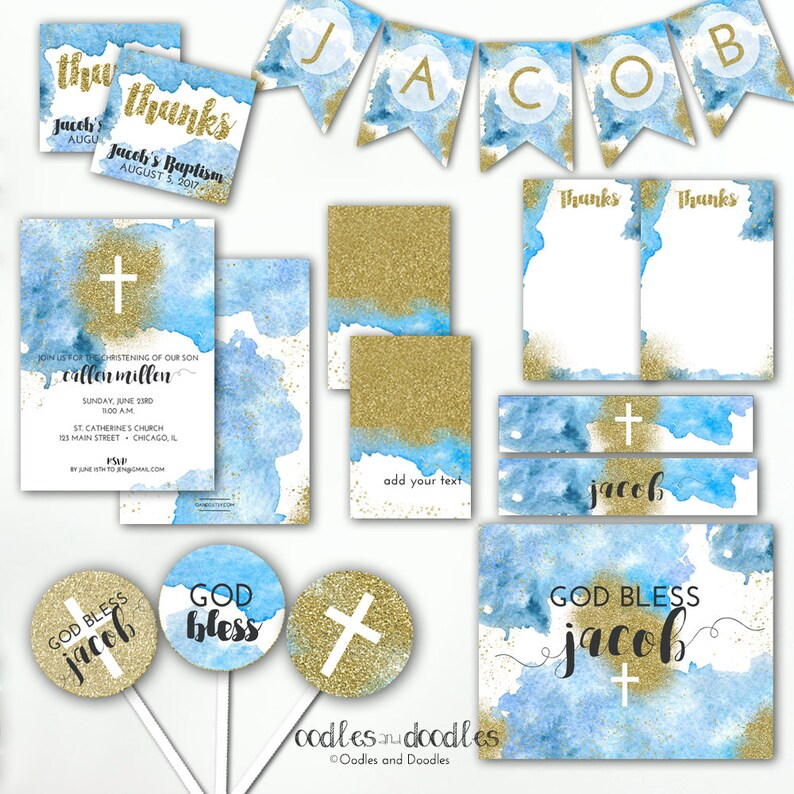 Printable Create Your Own A to Z Blue and Gold Banner Baby Boy Banner Baptism Baby Shower Blue Ombre Gold Glitter Banner