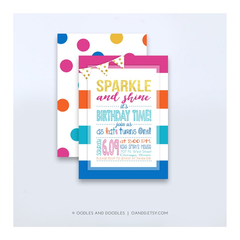 Rainbow Birthday Invitation Sparkle and Shine It's image 0