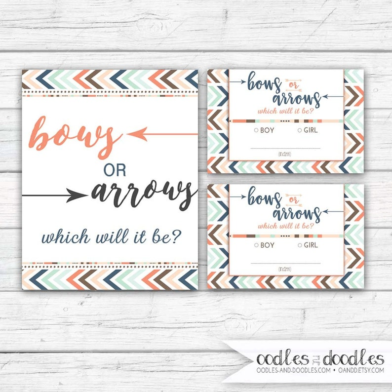 Gender Reveal Voting Cards Bows or Arrows Baby Prediction image 0