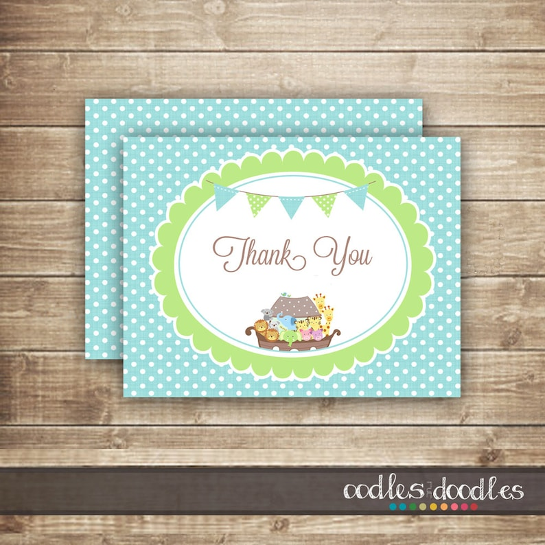Personalised Boys Noah/'s Ark Thank you Note Cards Christening envelopes x 10